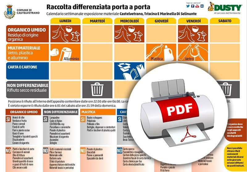 Calendario Raccolta Differenziata Reggio Calabria.Calendario Pdf Raccolta Differenziata Castelvetrano