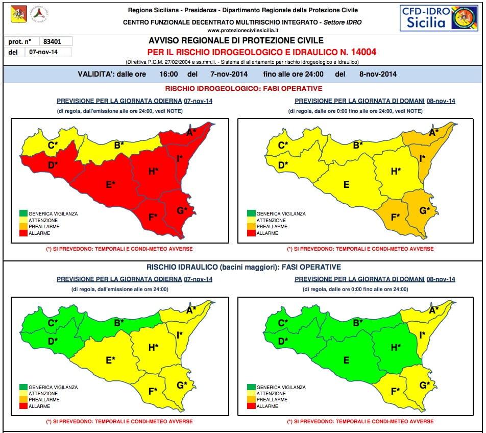 allarme meteo protezione civile novembre 2014