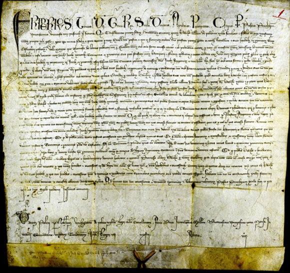 fotoriproduzione di una delle pergamene si Federico III, re di Sicilia