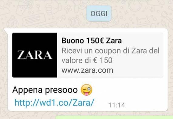 truffa zara whatsapp